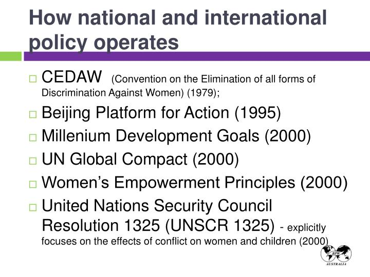 How national and international policy operates