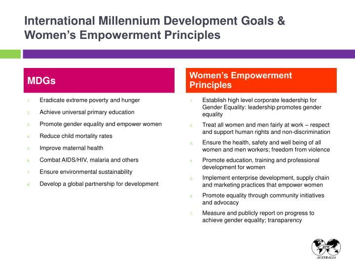 International Millennium Development Goals & Women's Empowerment Principles