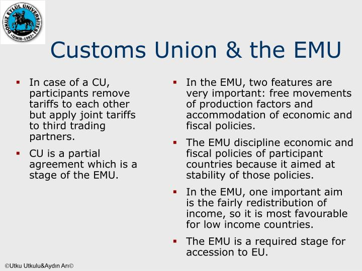 In case of a CU, participants remove tariffs to each other but apply joint tariffs to third trading partners.