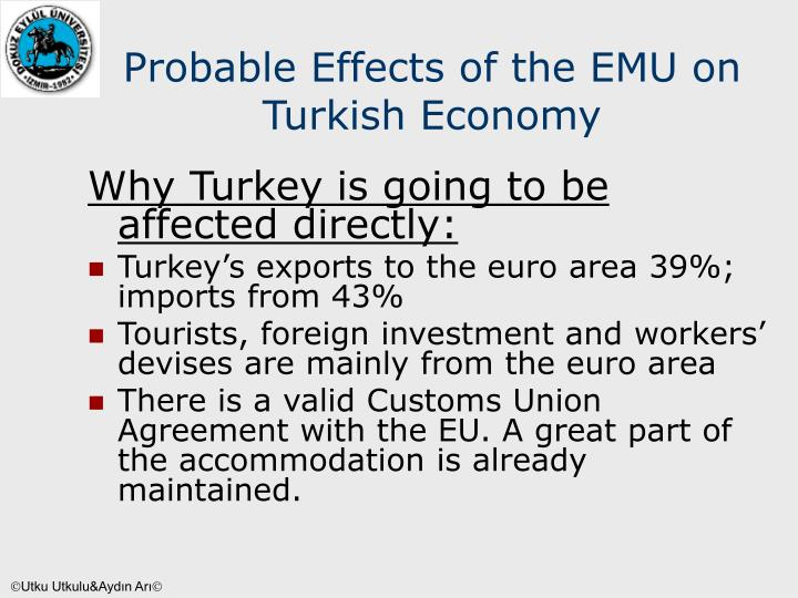 Probable Effects of the EMU on Turkish Economy