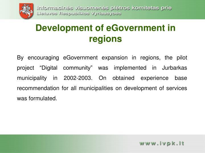 Development of eGovernment in regions