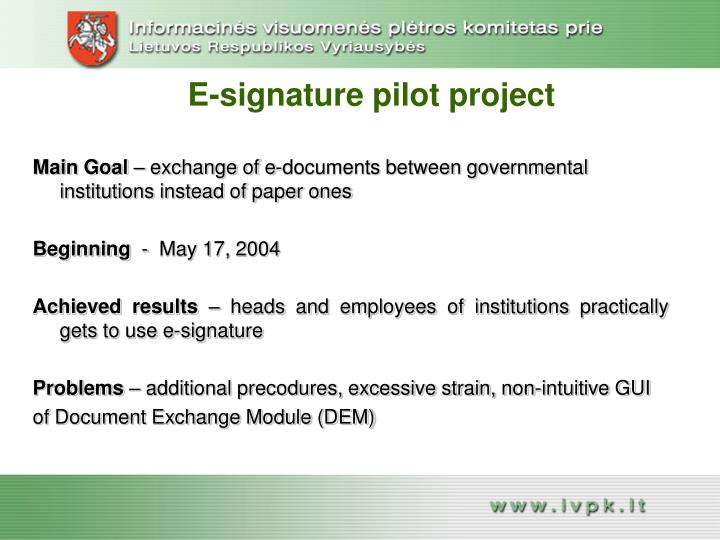 E-signature pilot project