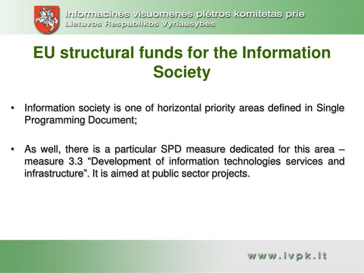 EU structural funds for the Information Society