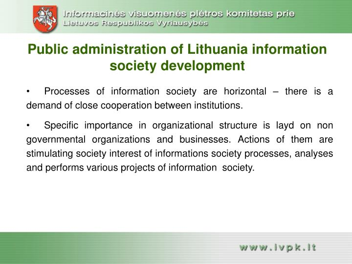 Public administration of Lithuania information society development
