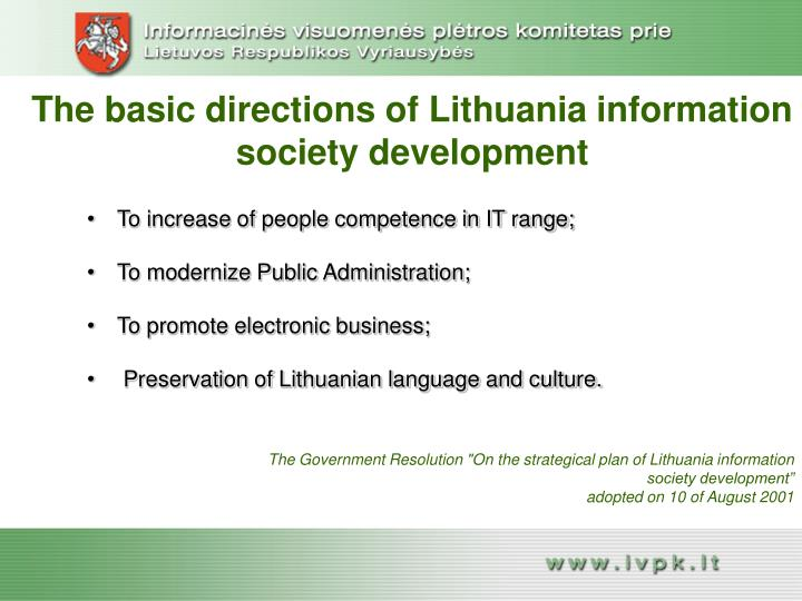 The basic directions of lithuania information society development