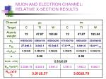 muon and electron channel relative x section results