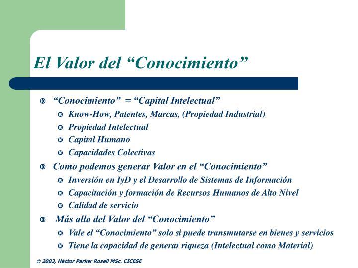 """El Valor del """"Conocimiento"""""""