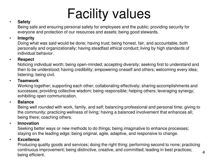 Facility values