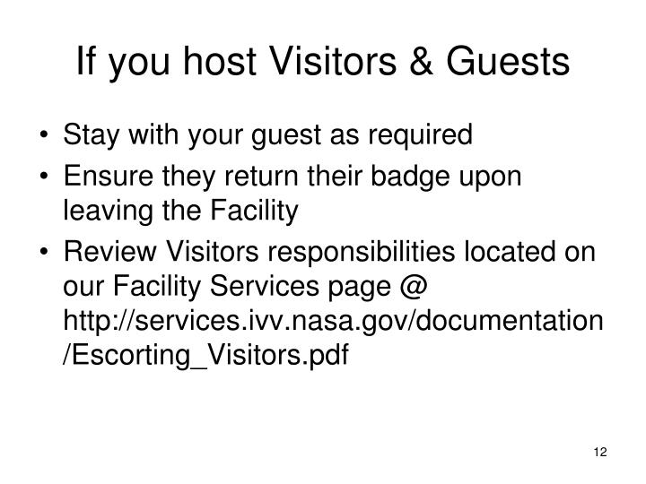 If you host Visitors & Guests