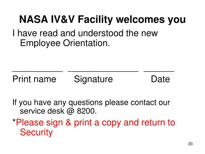 NASA IV&V Facility welcomes you