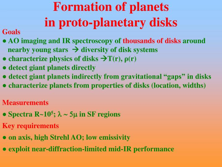 Formation of planets