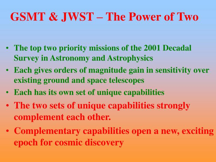 GSMT & JWST – The Power of Two