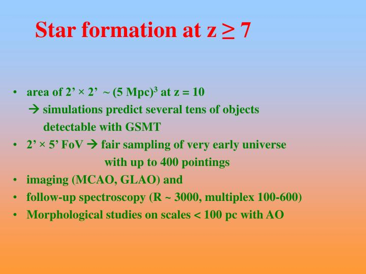 Star formation at z