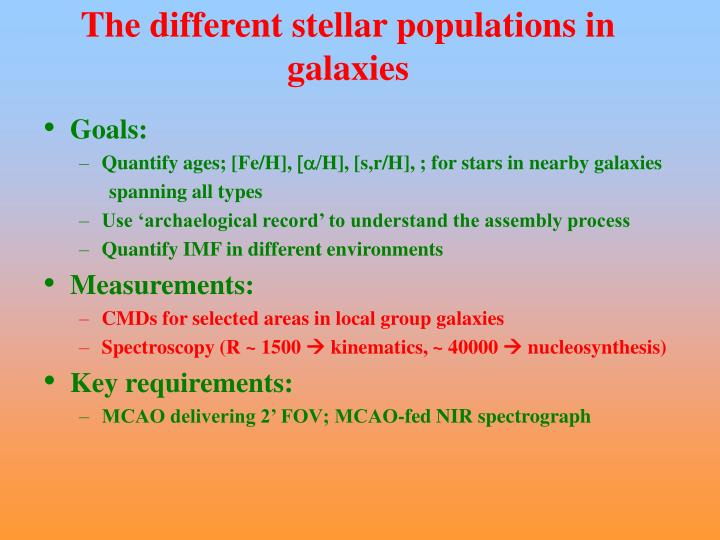 The different stellar populations in galaxies