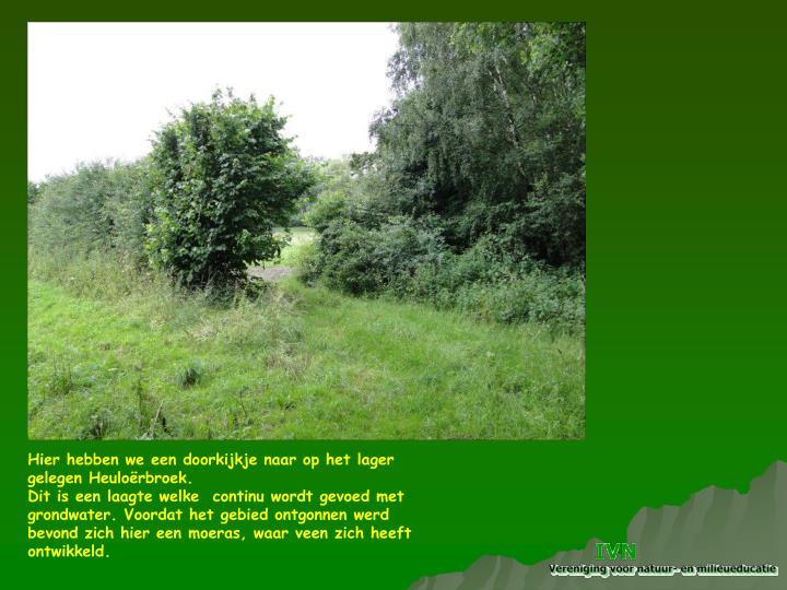 Hier hebben we een doorkijkje naar op het lager gelegen Heuloërbroek.