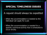 special timeliness issues