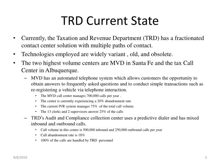 Trd current state
