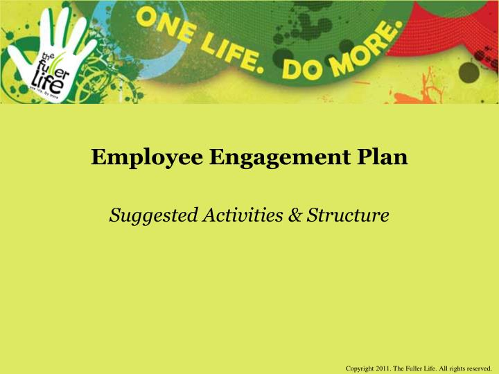 Employee engagement plan suggested activities structure