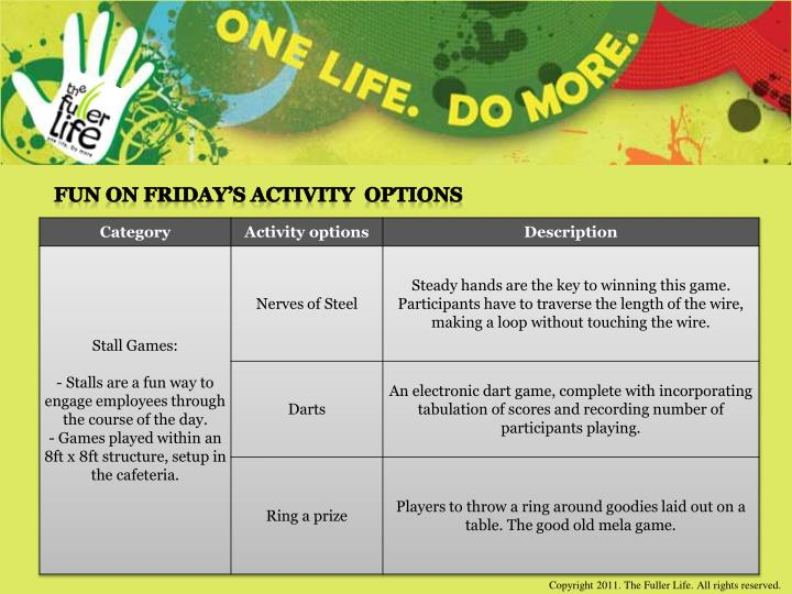 Fun on Friday's Activity  Options