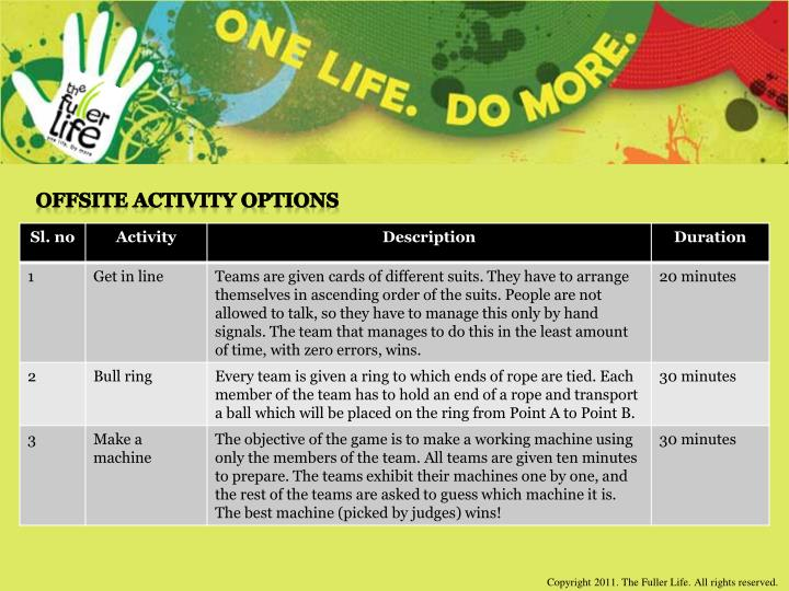 Offsite Activity Options