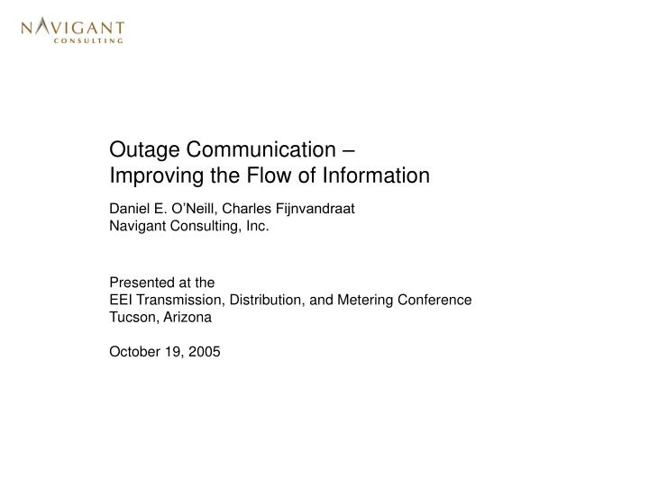 outage communication improving the flow of information n.