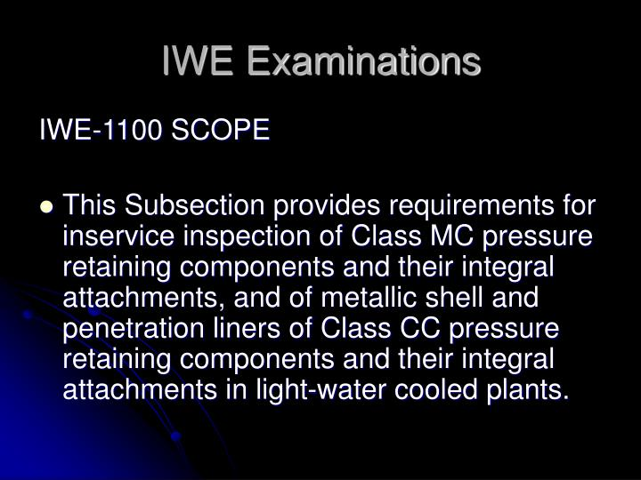 IWE Examinations