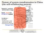 nature of system transformation in china the self withdrawing pattern