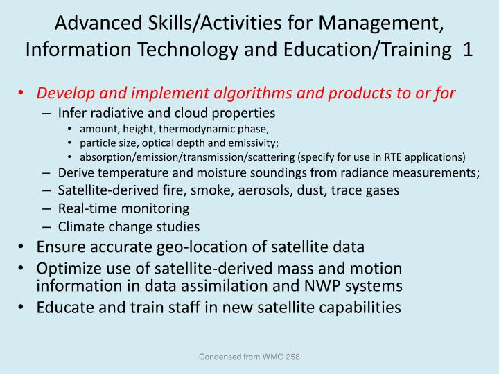 Advanced Skills/Activities for Management, Information Technology and Education/Training  1