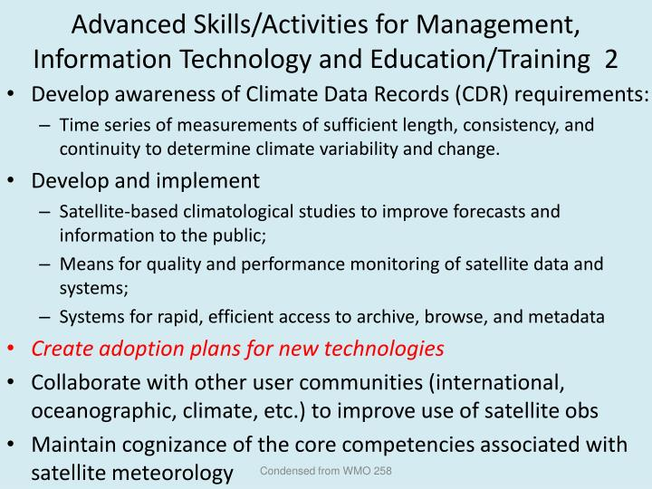 Advanced Skills/Activities for Management, Information Technology and Education/Training  2