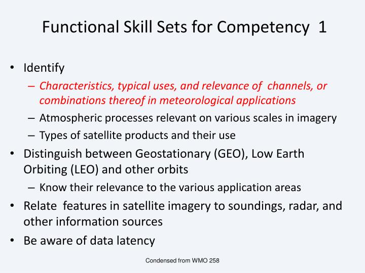 Functional Skill Sets for Competency  1