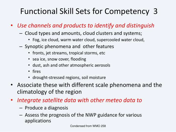 Functional Skill Sets for Competency  3