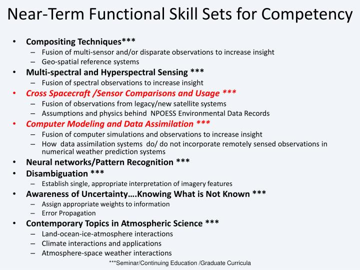 Near-Term Functional Skill Sets for Competency
