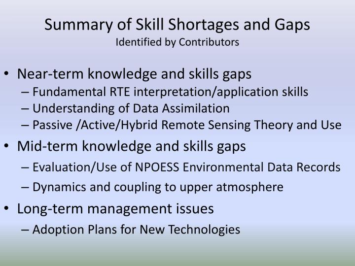 Summary of Skill Shortages and Gaps