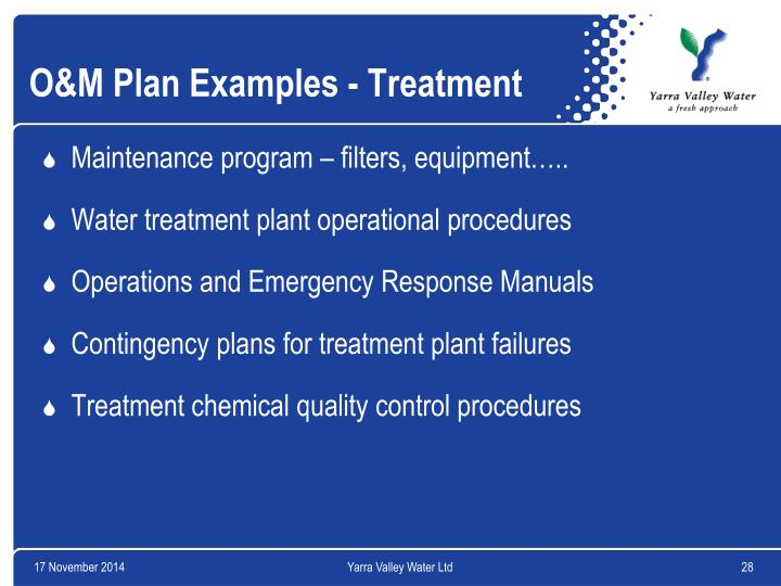 O&M Plan Examples - Treatment