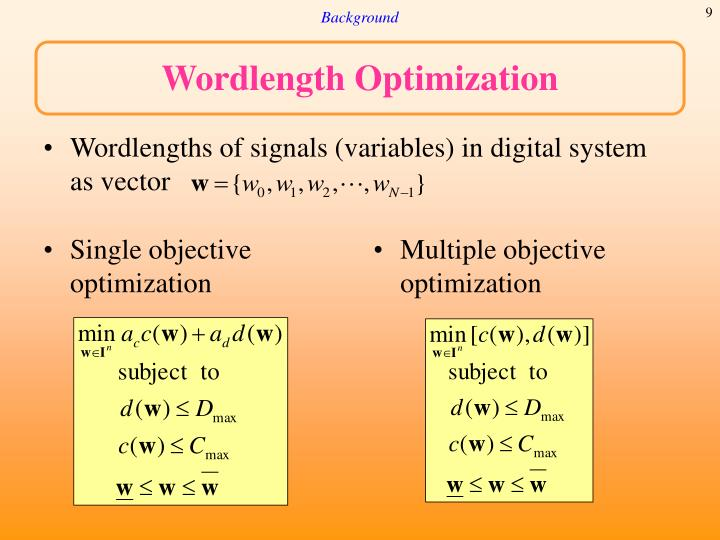 Wordlengths of signals (variables) in digital system as vector