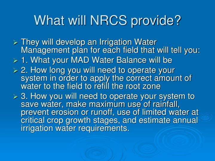 What will NRCS provide?