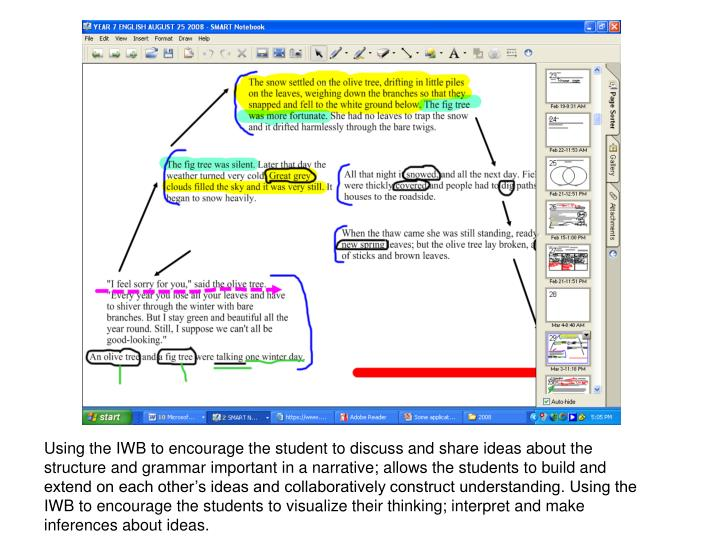 Using the IWB to encourage the student to discuss and share ideas about the structure and grammar important in a narrative; allows the students to build and extend on each other's ideas and collaboratively construct understanding. Using the IWB to encourage the students to visualize their thinking; interpret and make inferences about ideas.