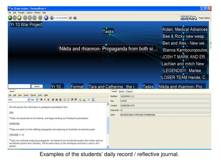 Examples of the students' daily record / reflective journal.