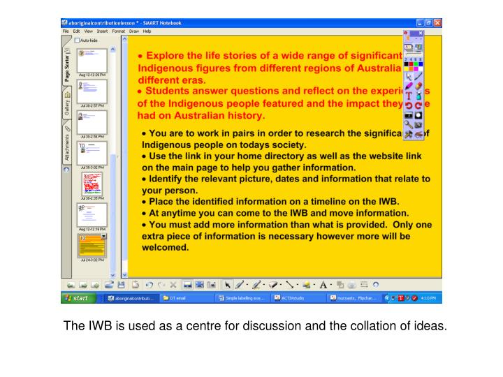 The IWB is used as a centre for discussion and the collation of ideas.