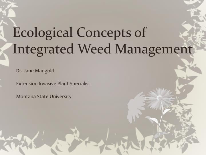 Ecological concepts of integrated weed management