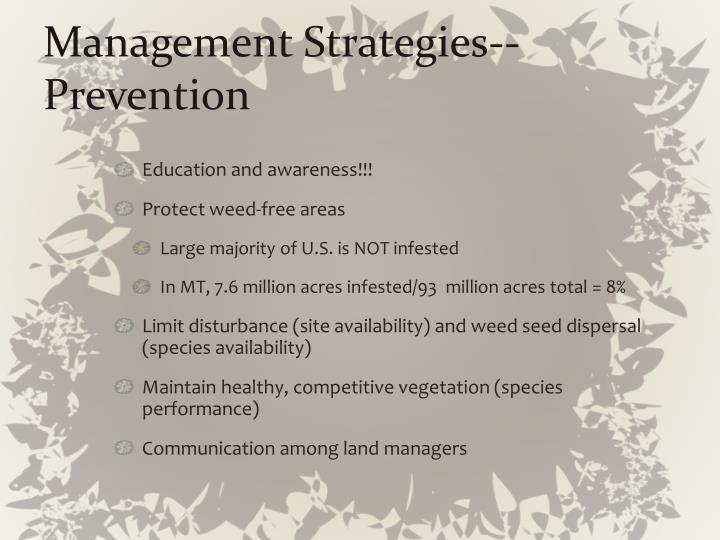 Management Strategies--Prevention