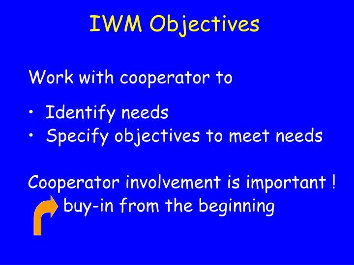 IWM Objectives