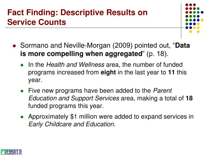 Fact Finding: Descriptive Results on Service Counts