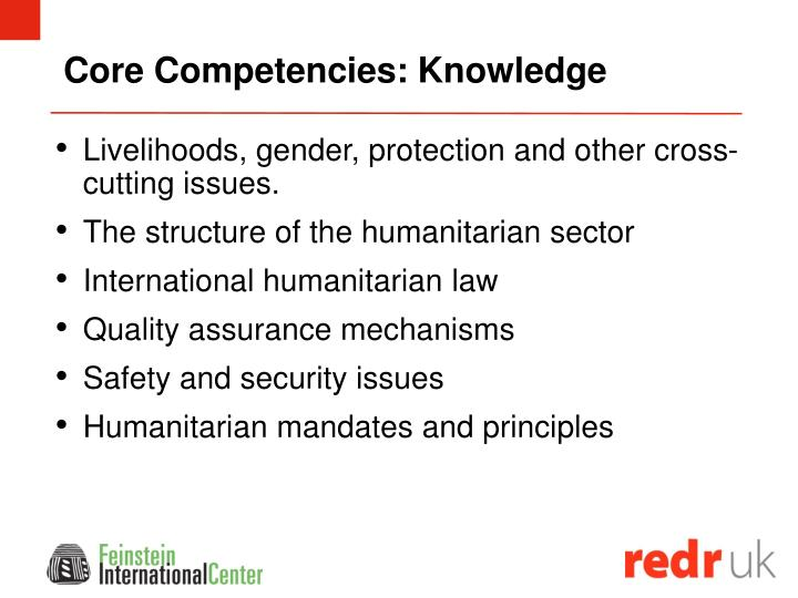 Core Competencies: Knowledge
