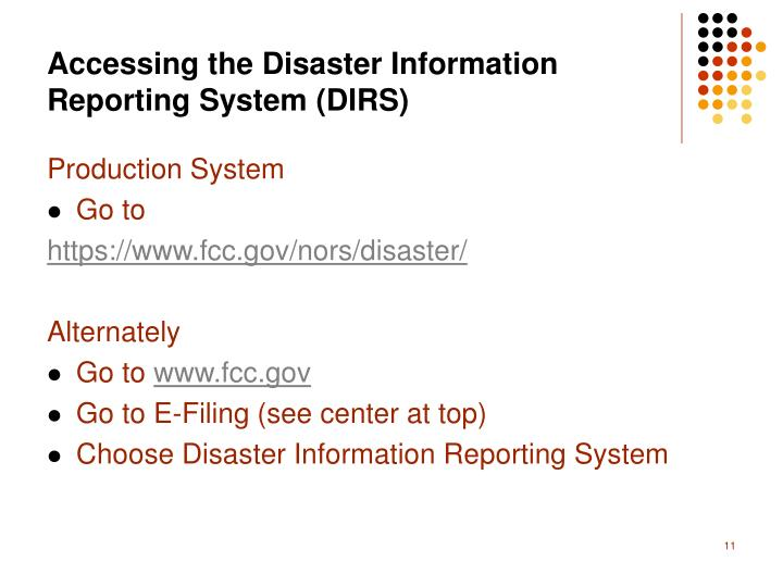 Accessing the Disaster Information Reporting System (DIRS)