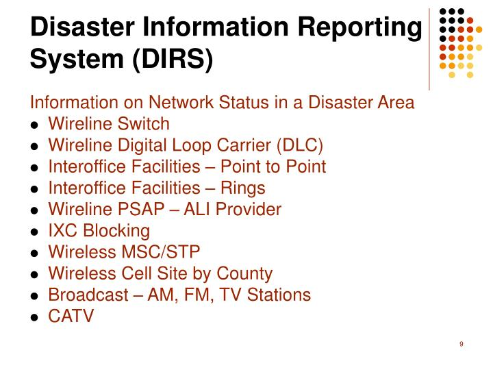 Disaster Information Reporting System (DIRS)