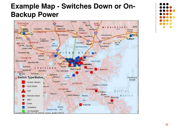 Example Map - Switches Down or On-Backup Power