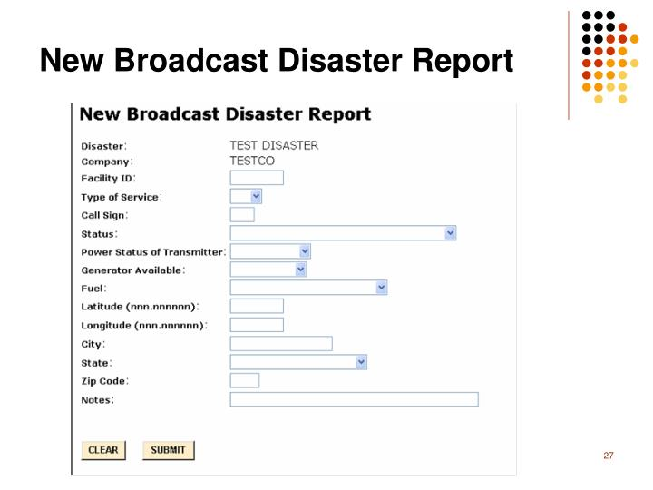 New Broadcast Disaster Report