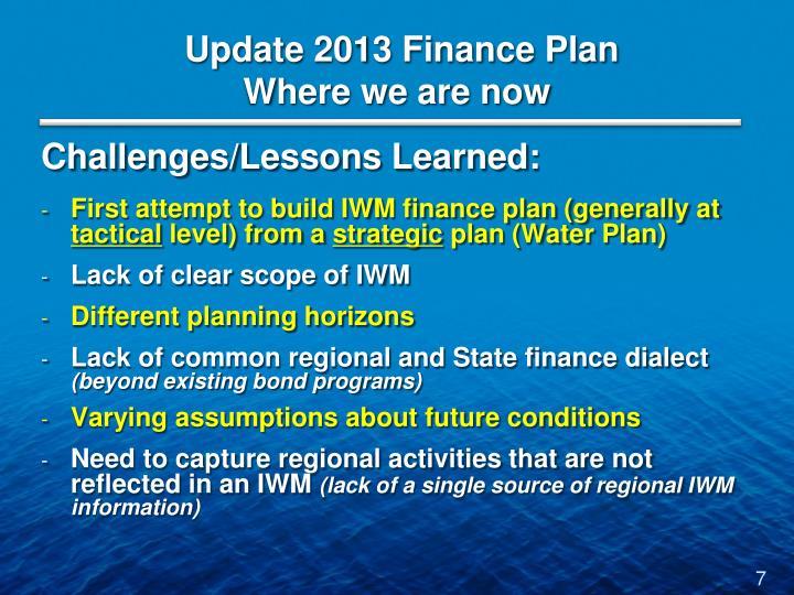 Update 2013 Finance Plan