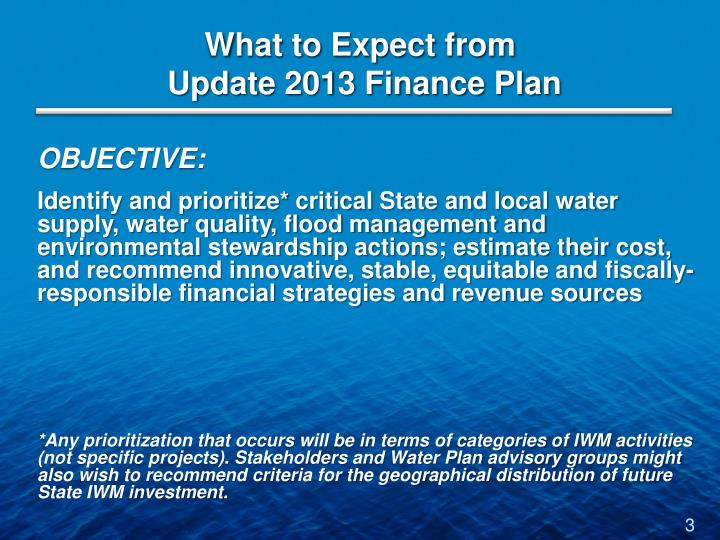 What to expect from update 2013 finance plan